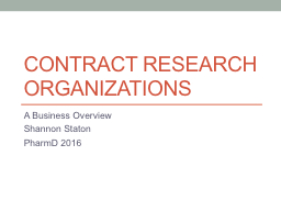 Contract Research organizations