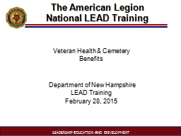 The American Legion  National LEAD Training PowerPoint PPT Presentation