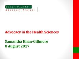 Advocacy in the Health Sciences