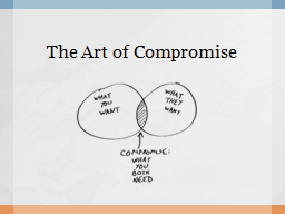 The Art of Compromise When is a time in your life when you had to compromise with someone?