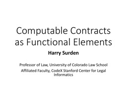 Computable Contracts as Functional Elements