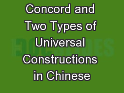 Universal Concord and Two Types of Universal Constructions in Chinese