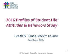 2016 Profiles of Student Life: