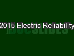 2015 Electric Reliability