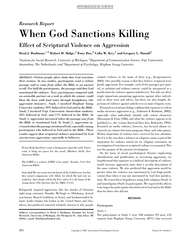 Research Report When God Sanctions Killing Effect of S