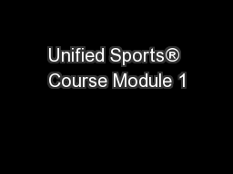 Unified Sports® Course Module 1