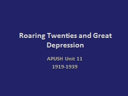 Roaring Twenties and Great Depression