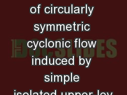 Fig. 1.1.  Cross section of circularly symmetric cyclonic flow induced by simple isolated upper-lev