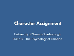 Character Assignment University of Toronto Scarborough