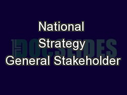 National Strategy General Stakeholder
