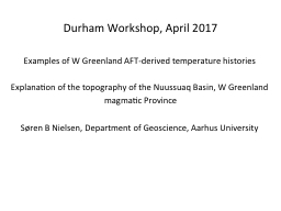 Durham Workshop, April 2017