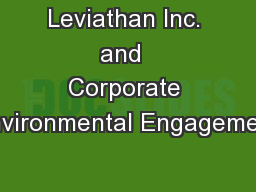 Leviathan Inc. and  Corporate Environmental Engagement