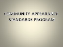 COMMUNITY APPEARANCE  STANDARDS