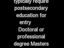 In  about onethird of jobs were in occupations that typically require postsecondary education for entry         Doctoral or professional degree Masters degree Bachelors degree Associat