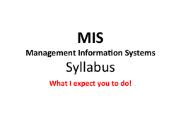 MIS Management Information Systems