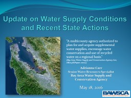 Update on Water Supply Conditions and Conservation