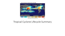 Tropical Cyclone Lifecycle Summary