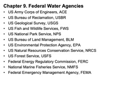 Chapter 9 Federal Water Agencies