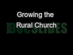 Growing the Rural Church PowerPoint PPT Presentation