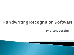 Handwriting Recognition Software PowerPoint PPT Presentation