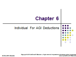Chapter 6 Individual For AGI Deductions