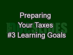 Preparing Your Taxes #3 Learning Goals