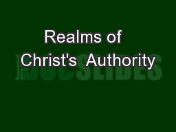Realms of  Christ's  Authority
