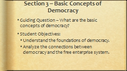 Section 3 – Basic Concepts of Democracy