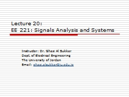 Lecture 20: EE  221:  Signals Analysis and Systems
