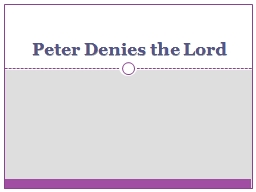 Peter Denies the Lord Lessons From Peter�s Denial