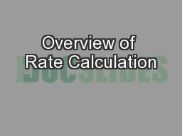 Overview of Rate Calculation