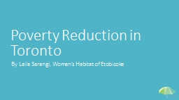 Poverty Reduction in Toronto PowerPoint PPT Presentation