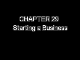 CHAPTER 29 Starting a Business
