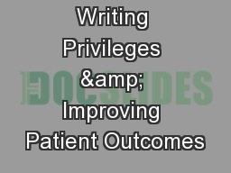 RDN Order Writing Privileges & Improving Patient Outcomes