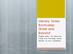 Literary Terms  Bootcamp