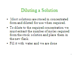 1 Diluting a Solution