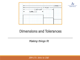 Dimensions and Tolerances PowerPoint PPT Presentation