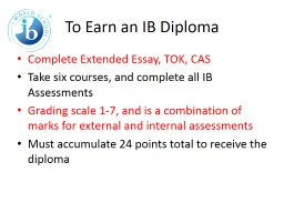 To Earn an IB Diploma Complete Extended Essay, TOK, CAS