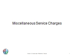 Miscellaneous Service Charges