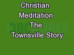 Christian  Meditation The Townsville Story