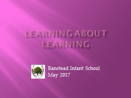 Learning about learning Banstead Infant School