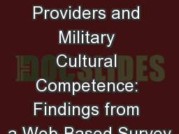 Community Health Care Providers and Military Cultural Competence: Findings from a Web-Based Survey