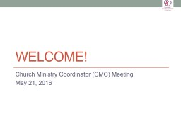 WELCOME! Church Ministry Coordinator (CMC) Meeting