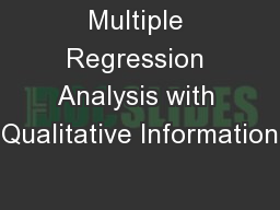 Multiple Regression Analysis with Qualitative Information