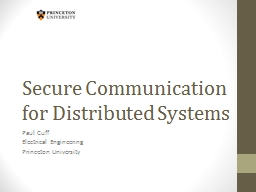 Secure Communication for Distributed Systems PowerPoint PPT Presentation