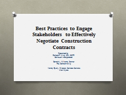 Best Practices to Engage Stakeholders to Effectively Negotiate Construction Contracts