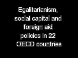 Egalitarianism, social capital and foreign aid policies in 22 OECD countries