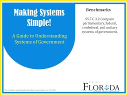 SS.7.C.3.2 Compare parliamentary, federal, confederal, and unitary systems of government.