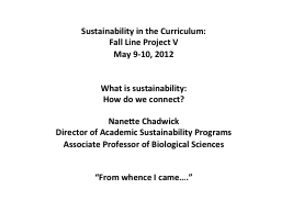 Sustainability in the Curriculum: