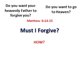 Must I Forgive?  Do you want your heavenly Father to forgive you?